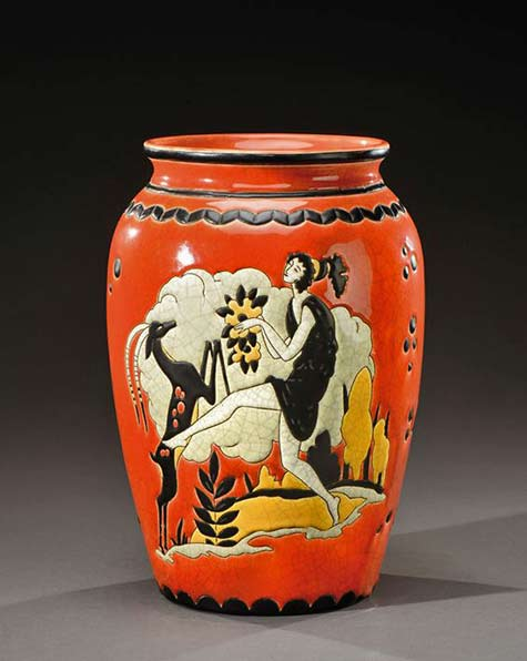 Art-Deco-Vase-Longwy-for-Pomona-Bon-Marché I woman dancing with a deer