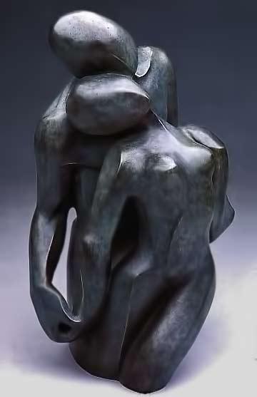 Bernard-Kapfe abstract cuddling lovers sculpture