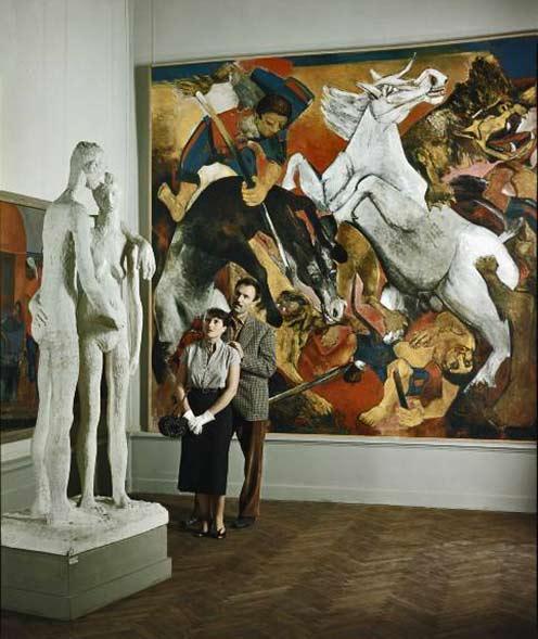 Venice-Biennale-Art-1949-Dmitri-Kessel a large mural of a rearing white stallion