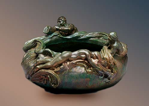 Clement-Massier---Sculptural-bowl,-1900 with nude figures