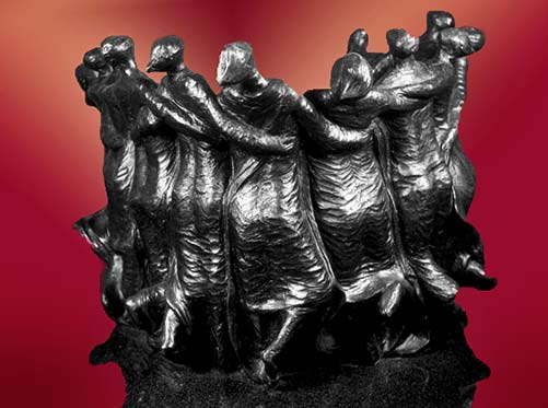 Dance of Life sculpture - Dancing circle of women arm in arm