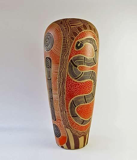 Derek Jungarrayi Thompson,-Ernabella Ceramics - Watersnake Story
