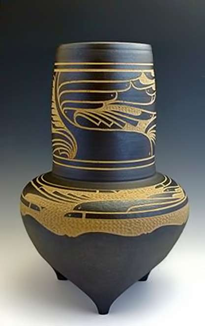Designed-Tripod-Vase----Charles-Smith - sgraffito decoration