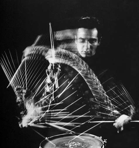 Drummer Gene Kruper playing , photo by Gjon Mili