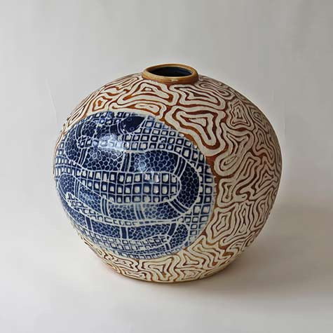 Ernabella Ceramics, Derek Jungarrayi Thompson - SOLD Liru Kutjara II, 2013,