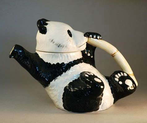 Panda eating bamboo teapot