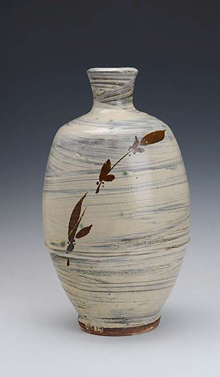 Jim-Malone-Pottery bottle vessel with white slip and red botanical decoration