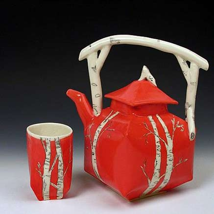 Josie-Jurczenia red ceramic teapot with white underglaze sgaffito