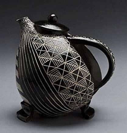 Judy-Weeden black and white geometric sgraffito teapot