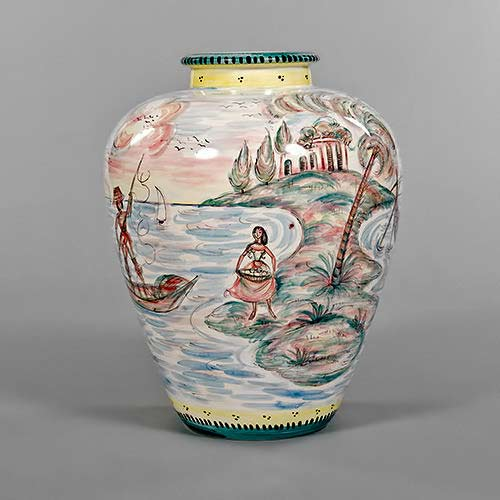 Fifties German vase - woman on the shore meeting a boatman