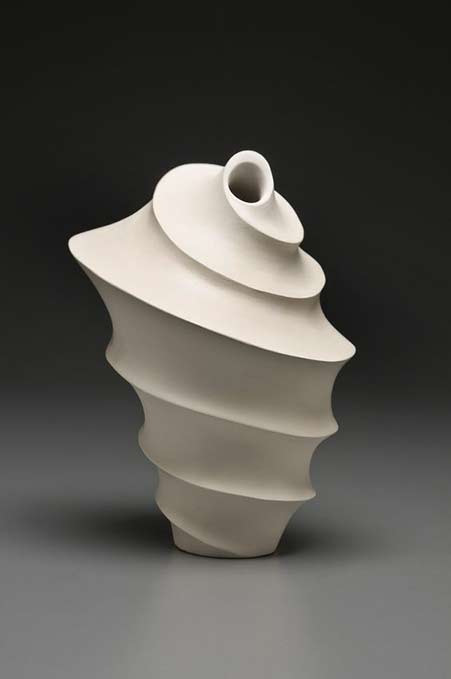 Leora-Brecher white ceramic asymmetrical spiral sculpture