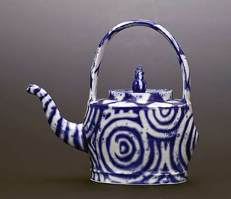 Liz-Quackenbush teapot with blue spirals on white