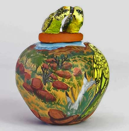 Lyerrtjina (budgerigar) 2016 by hermannsburgpottery -Judith Pungkarta Inkamala
