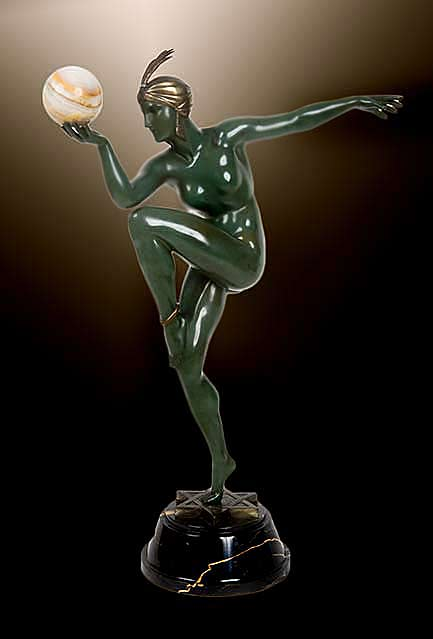 Maurice-Guiraud-Riviere-art deco figure sculpture - naked green man with a gold turban