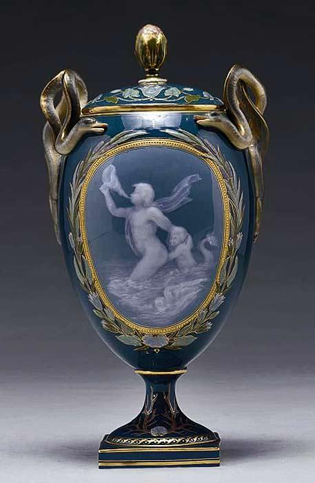 Meissen art nouveau vase with cupid motif