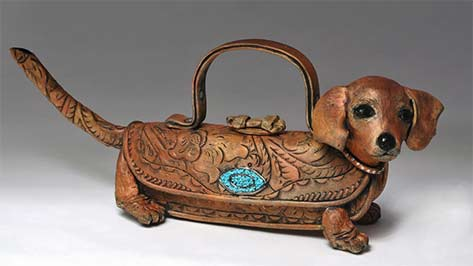 Sausage dog teapot by Meryl Ruth