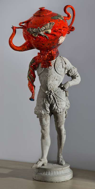 Michael-Lucero,-Conquistador mas with a red teapot head