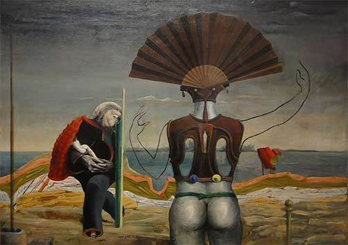 Woman,-Old-Man,-and-Flower-by-Max-Ernst painting Surreal