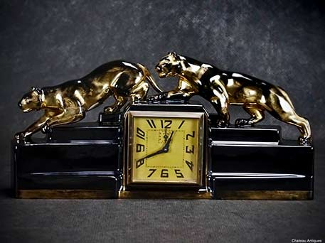 ODYV-French-Art-Deco mantle clock with black panther figures