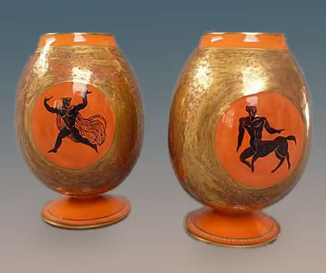 Pair-of-ceramic-vases-with-a-rounded-barrel-in-the-lower-part-of-pedestal-ring,-flat