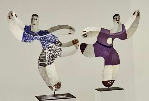 Pair of dancing figures, metal cutouts, folded & painted, by Pablo Picasso. Gjon Mili 1967