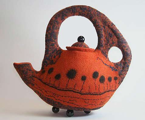 Pamela-MacGregor orange and black detail teapot