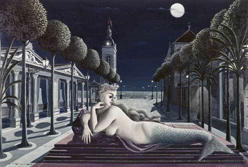 Paul-Delvaux,-A-Siren-in-Full-Moonlight-oil-painting--Dmitri-Kessel