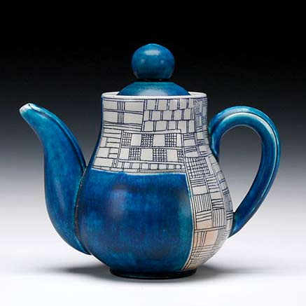 julia-Galoway ceramic teapot - blue glaze with geometric detailed panels