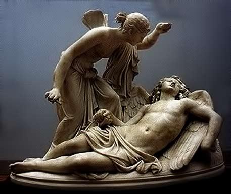 Psyche admiring a sleeping Cupid sculpture