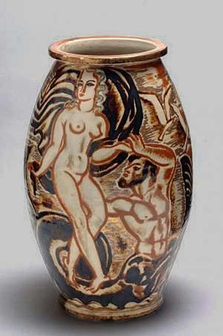 René-Buthaud gilded highl;ights vase