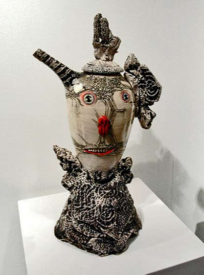Michael Lucero ceramic teapot on stand