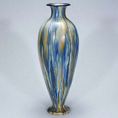 Roger-Guerin tall elegant fotted baluster polychrome vase