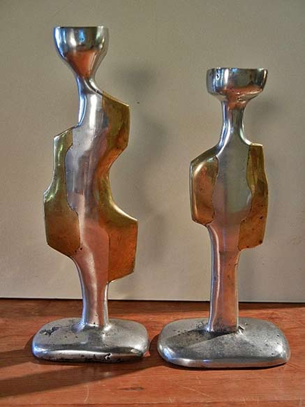 Spanish-Modernist-Aluminum-&-Bronze-Candlesticks,