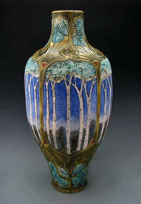 Stephanie-Young---Art Nouveau style Forest-Series vase