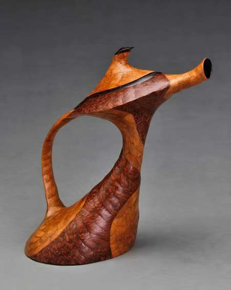 David-Bennett wood carved teapot in a sea horse form