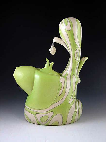 Chandra-DeBuse lime green abstract pattern teapot