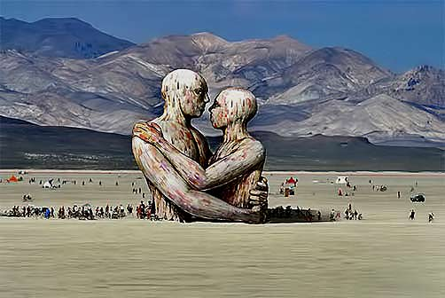 large Burniing man Festival sculpture called The Embrace