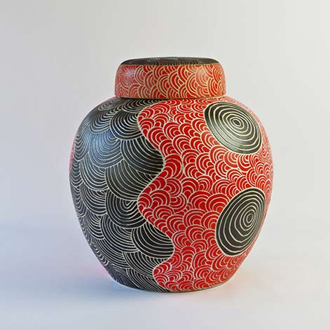 Tjimpuna Williams, Ernabella Ceramics, SOLD Tali - Sand Dunes, 2015, Stoneware, H 47