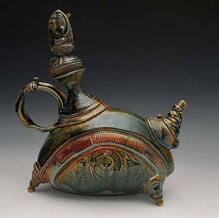 Vadim-Malkin-teapot-green and brown glaze