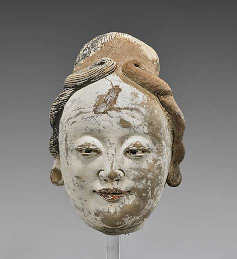 Yuan Dynasty painted stucco female head