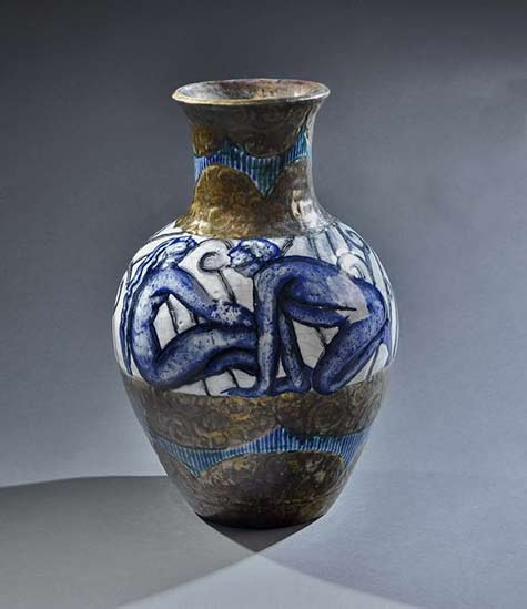 Edourde-cazaux-vase with two nude figures in blue and white