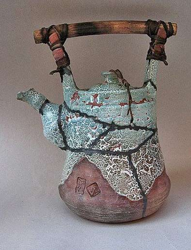 alexander-miroshnychenko ceramic teapot in turquoise and brown
