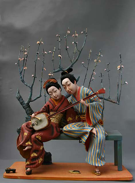 love-playing-on-a-shamisen - seated Oriental couple - Larisa-Churkina