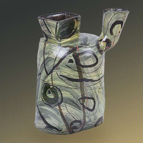 Alison-Britton ceramic vessel with abstract decoration