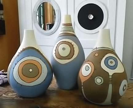 Anelise-Bredow ceramic vessels with bullseye motifs