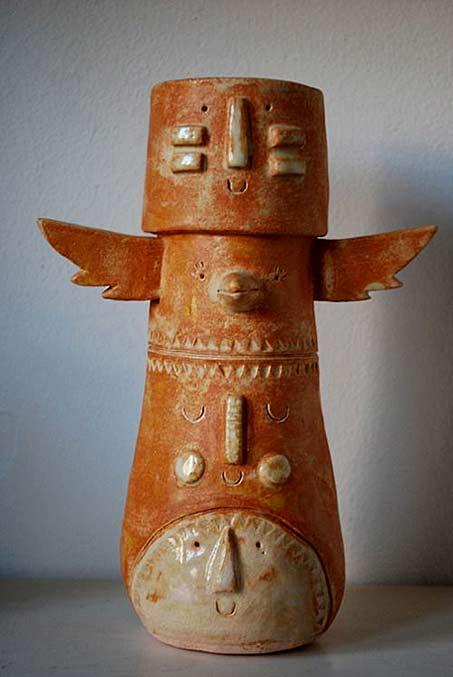 Atelier Stella. Chief Square Head Totem in Terracotta.