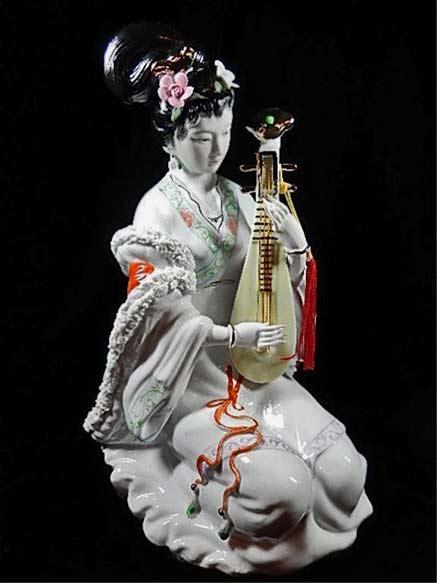 Female musician porcelain figurine China