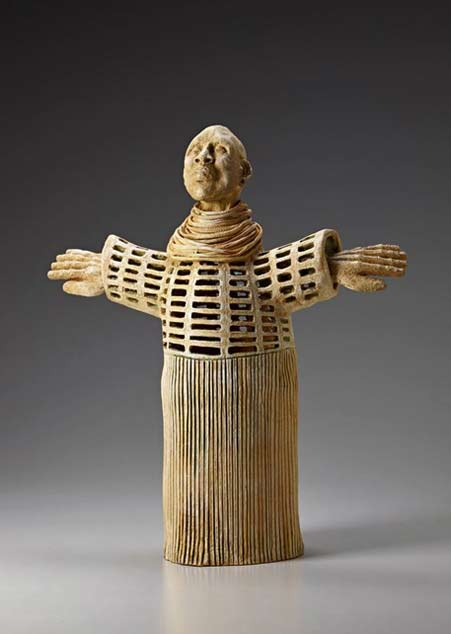 Ceramic sculpture male figure with outstretched arms - Carol-Holtzman-Fregoso