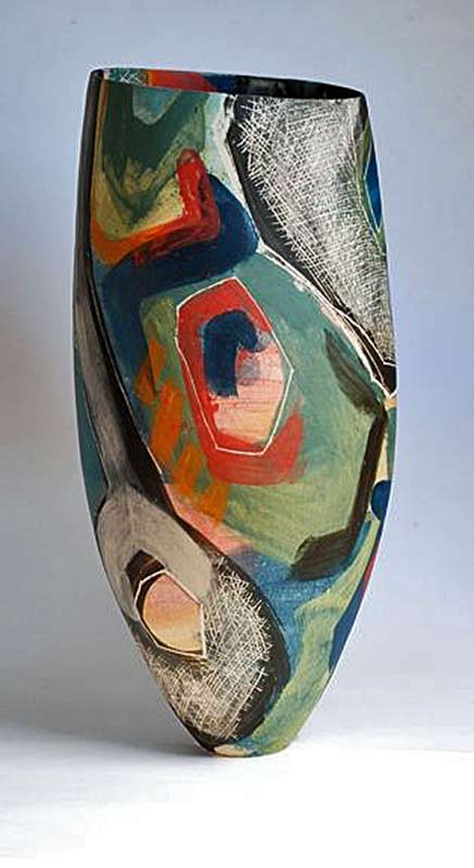 Carolyn-Genders ceramic abstract form and decorated vase