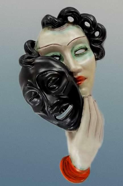 Art Deco Ceramic-Wall-Mask-'TRAGEDY'-By-Goldscheider-Wien